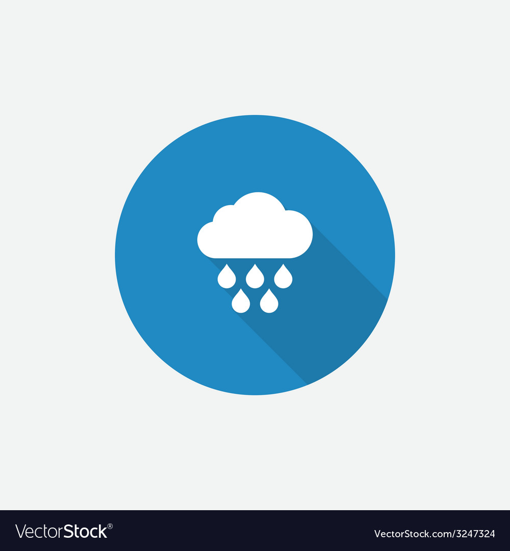 Cloud rain flat blue simple icon with long shadow vector   Price: 1 Credit (USD $1)