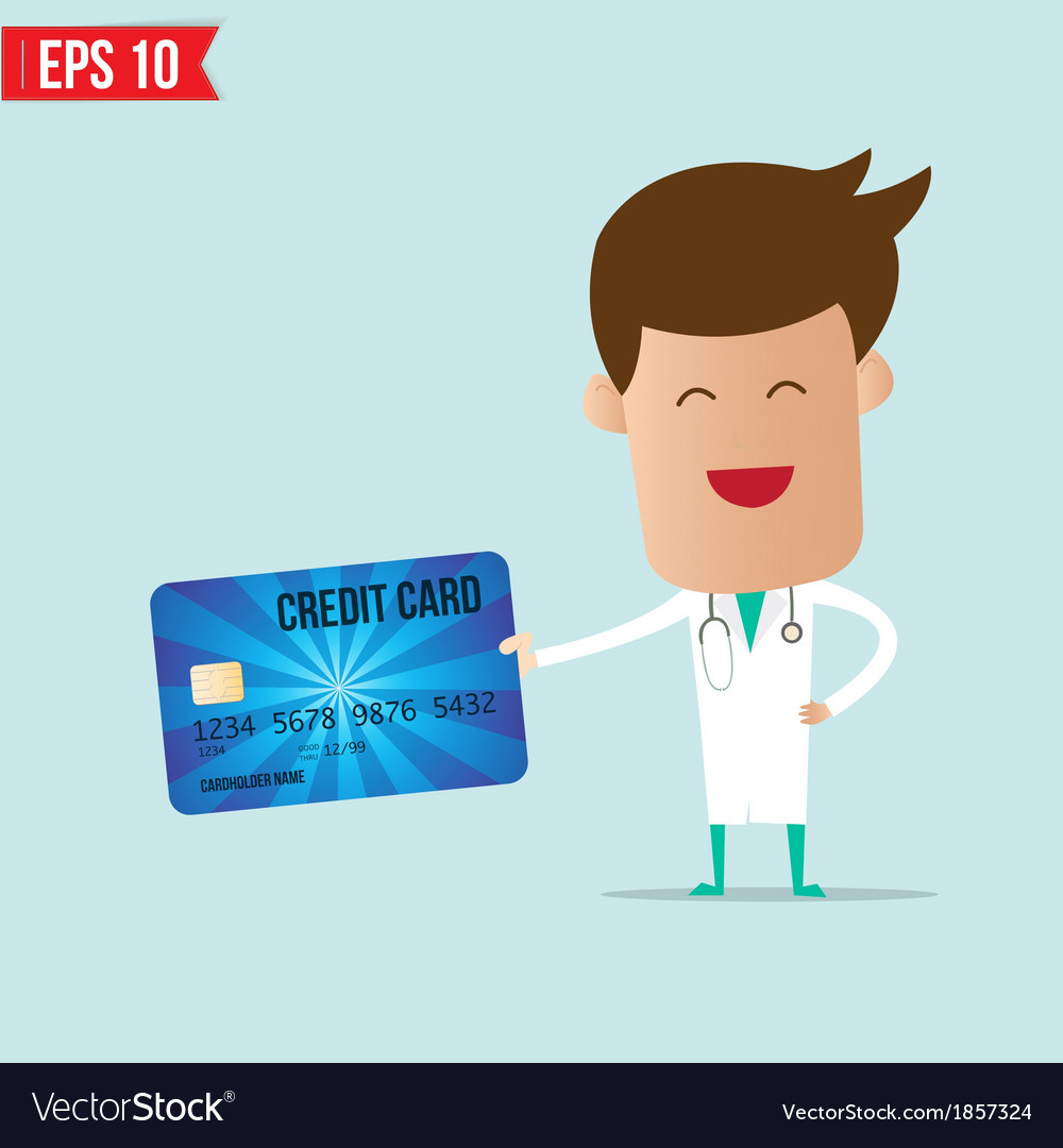 Doctor holding credit card vector | Price: 1 Credit (USD $1)