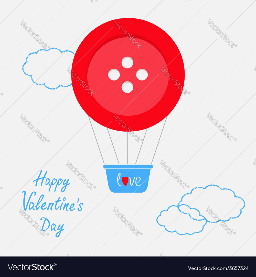 Hot air balloon made of big red button dash line vector   Price: 1 Credit (USD $1)