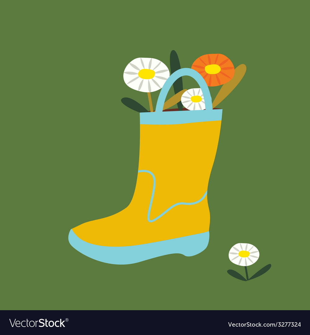 Post card boot with flowers vector | Price: 1 Credit (USD $1)