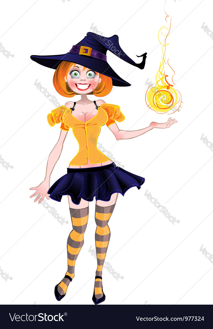 Pretty sexy witch with fireball vector | Price: 3 Credit (USD $3)