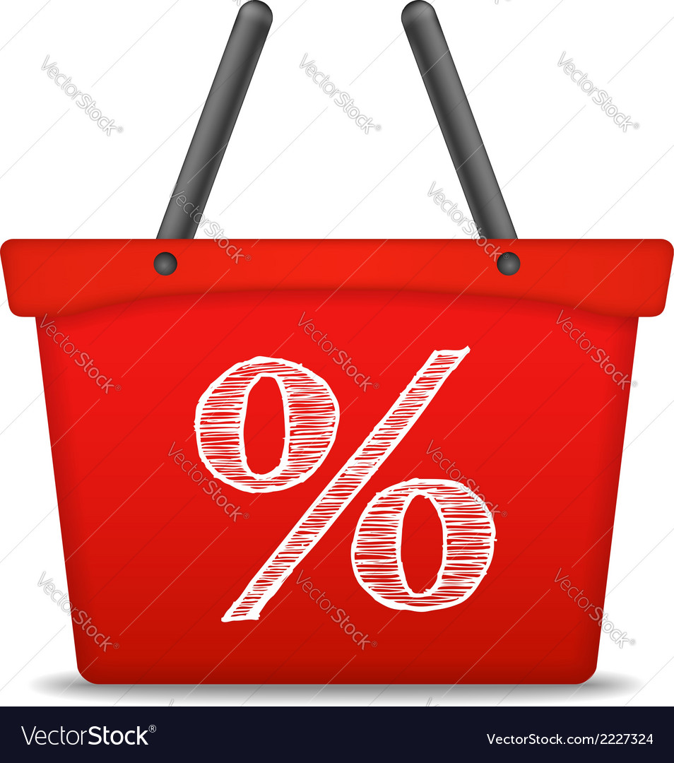 Shopping basket with percent sign vector | Price: 1 Credit (USD $1)