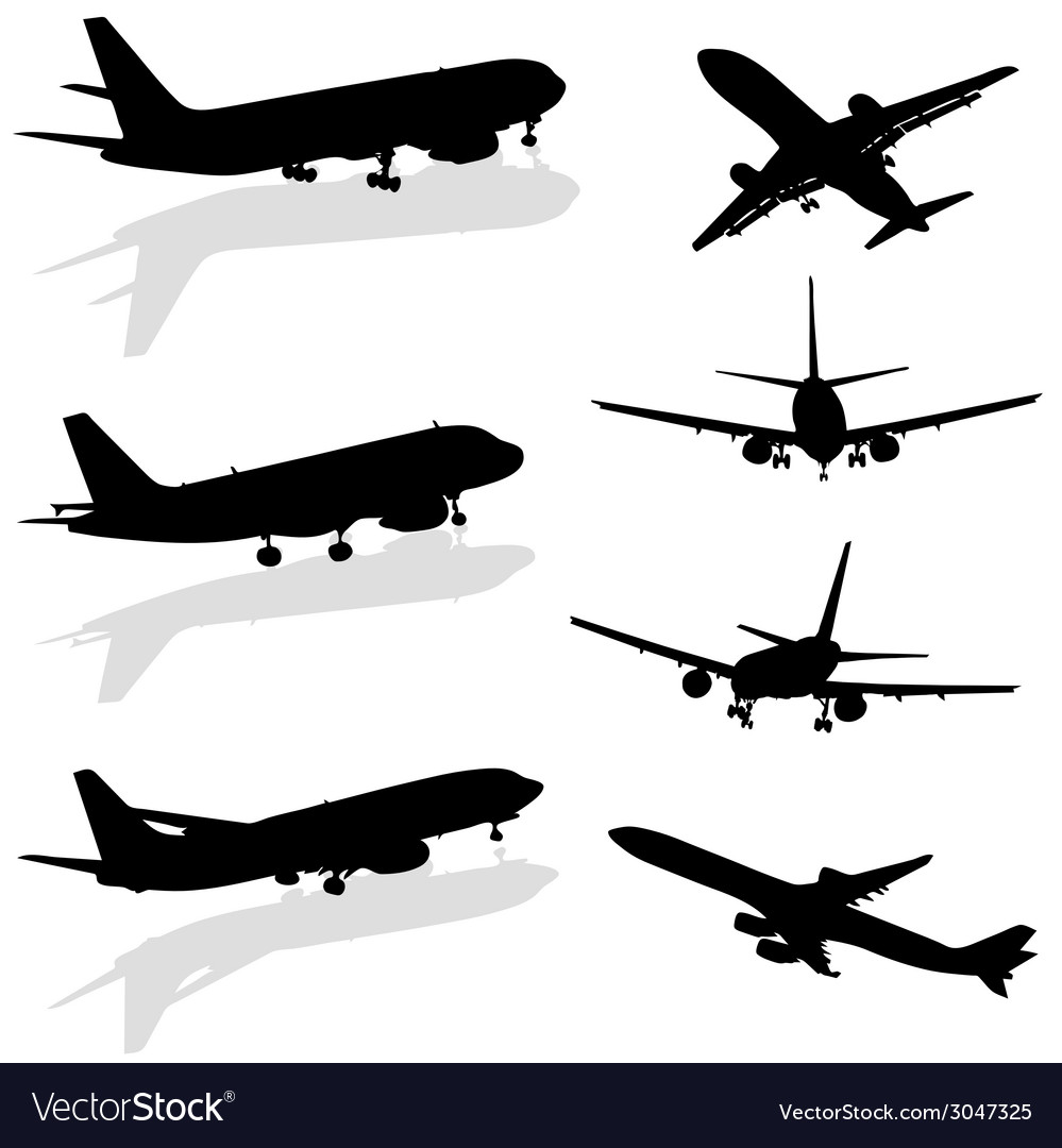 Airplane silhouette in black vector | Price: 1 Credit (USD $1)