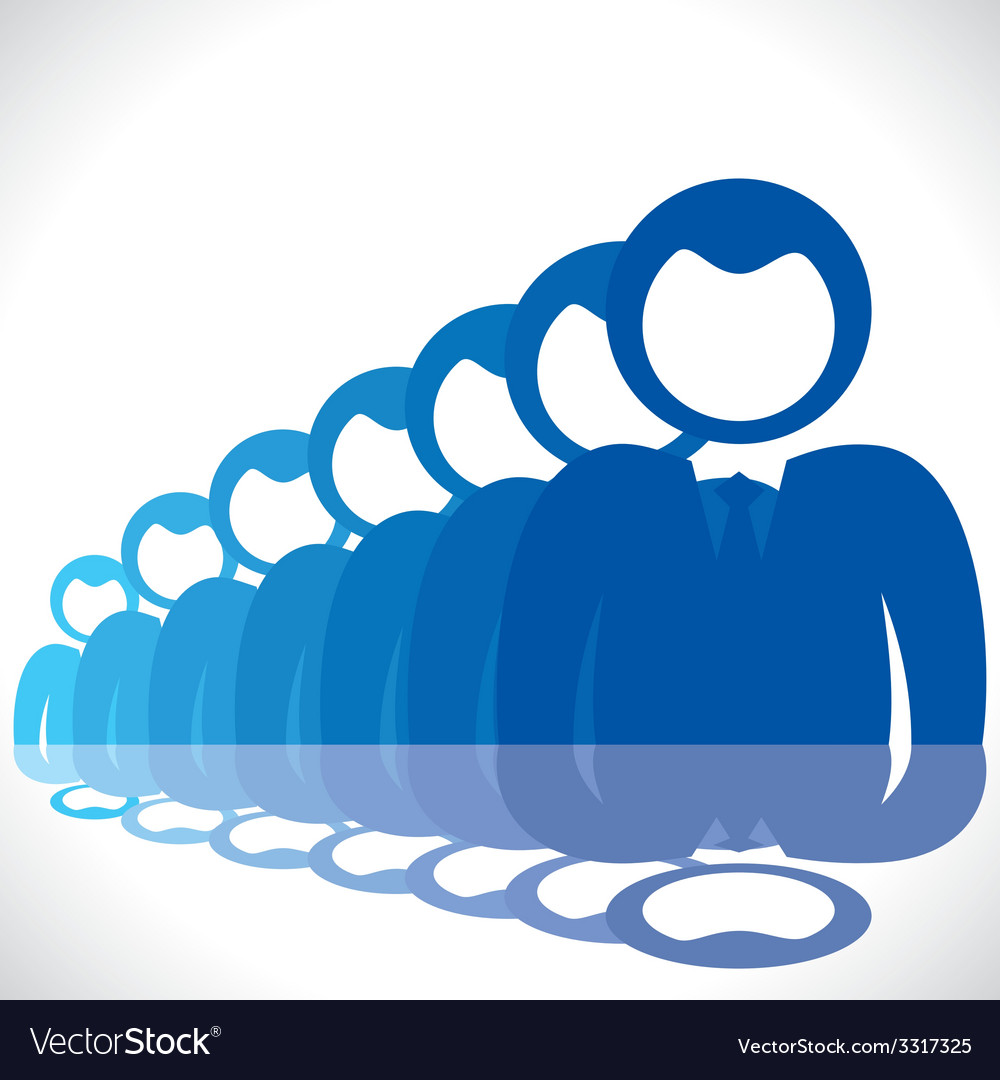 Blue businessmen in row vector | Price: 1 Credit (USD $1)