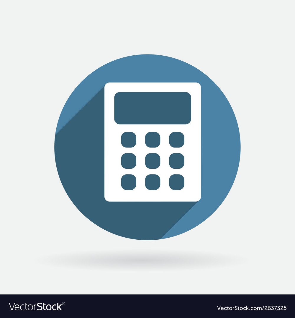 Calculator circle blue icon with shadow vector | Price: 1 Credit (USD $1)