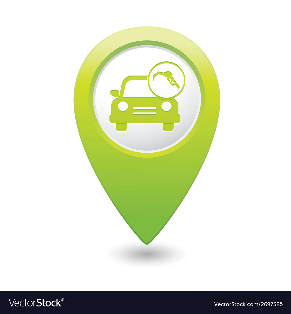 Car with fast refueling icon map pointer green vector | Price: 1 Credit (USD $1)