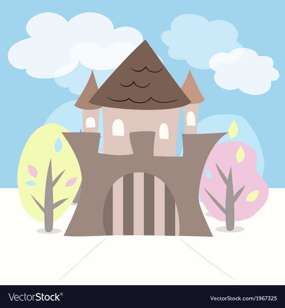 Castle with trees vector | Price: 1 Credit (USD $1)
