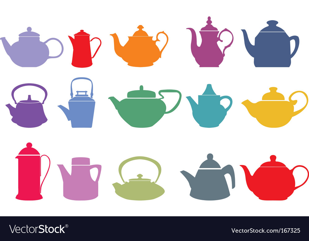 Colorful teapots vector | Price: 1 Credit (USD $1)