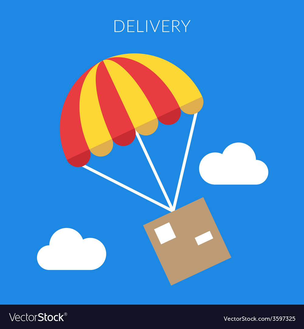 Delivery concept of a box and parachute in vector | Price: 1 Credit (USD $1)