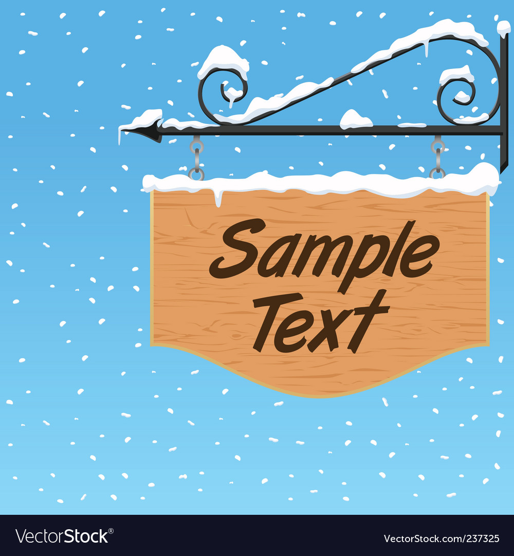 Wooden sign with snow effect vector | Price: 1 Credit (USD $1)