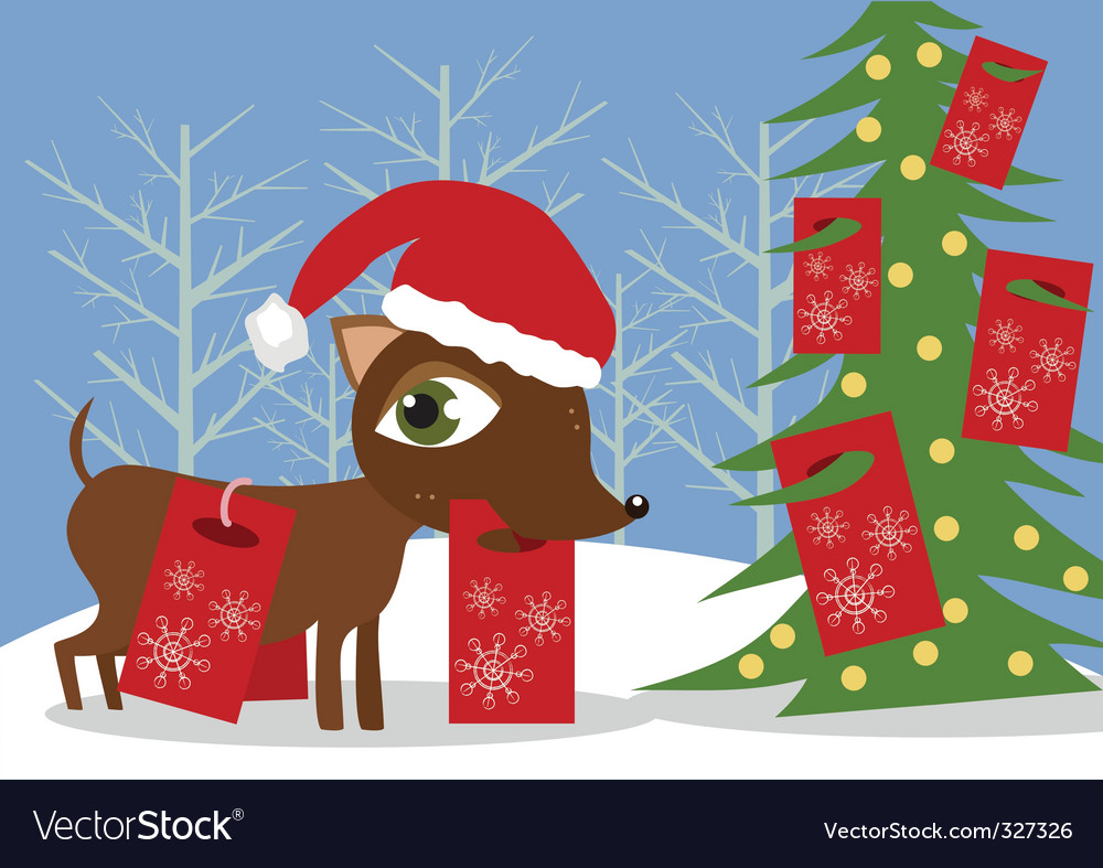 Doggy with christmas presents vector | Price: 1 Credit (USD $1)