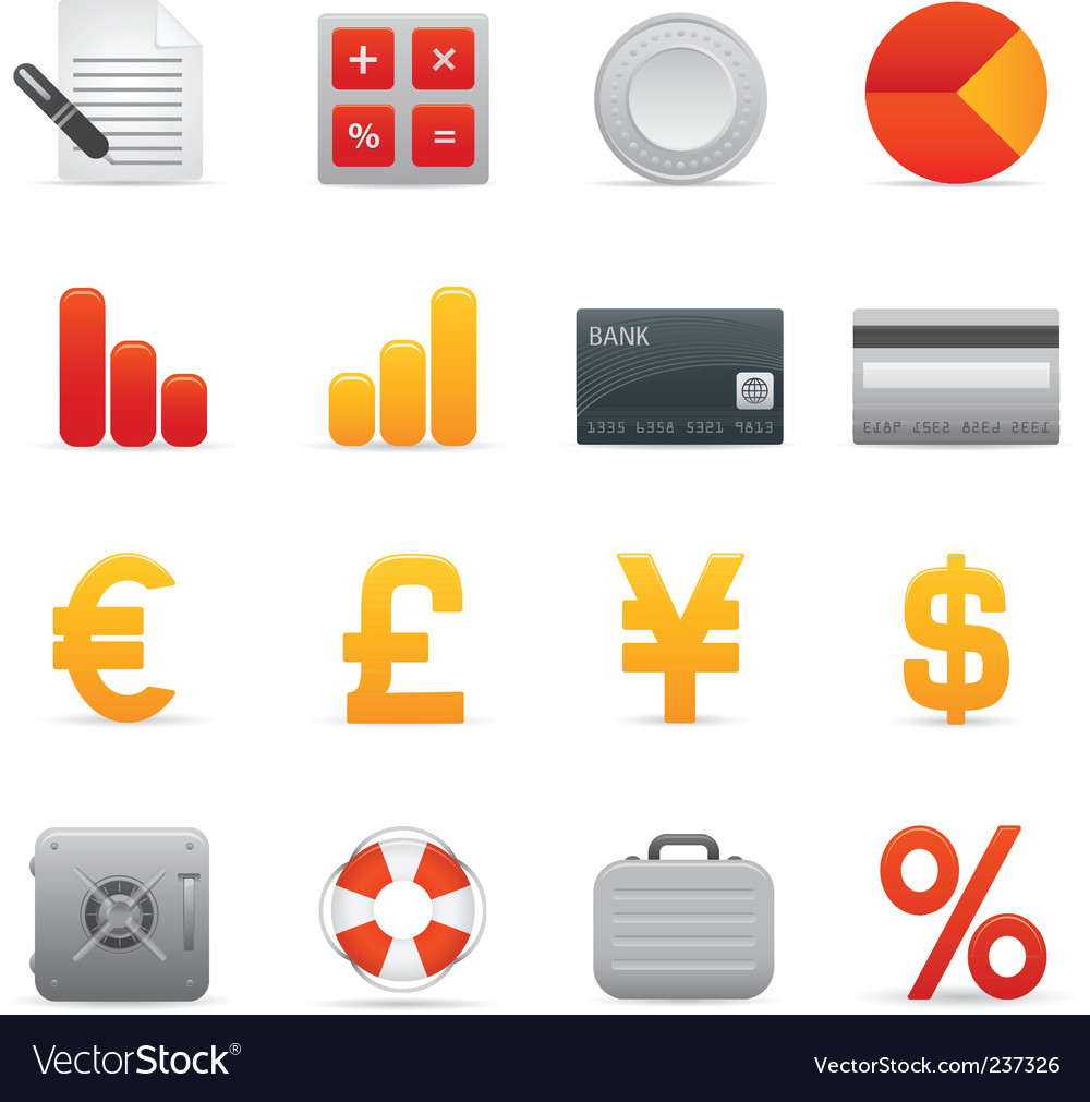 Finance icons  red vector | Price: 1 Credit (USD $1)