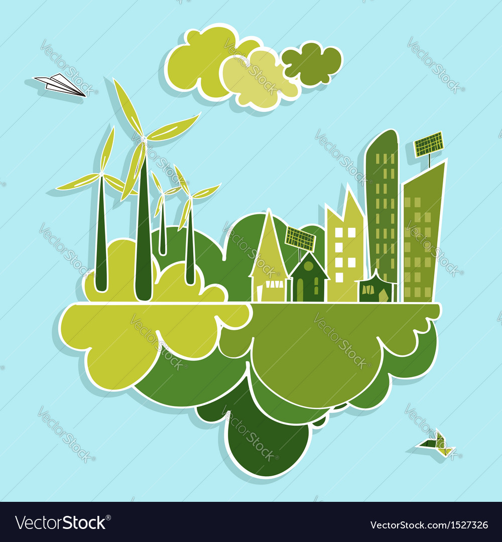 Green city renewable resources vector | Price: 1 Credit (USD $1)