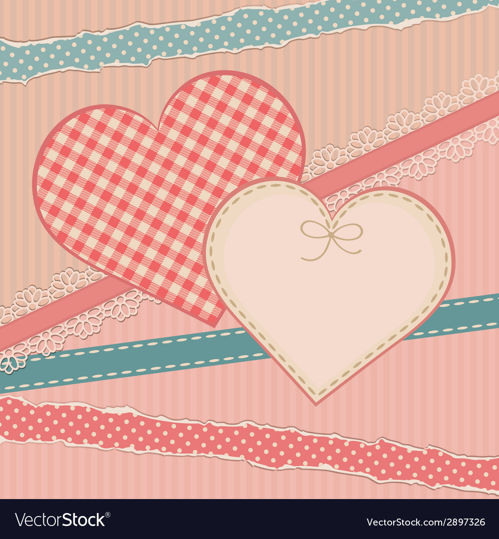 Greetings vintage card with heart form vector | Price: 1 Credit (USD $1)