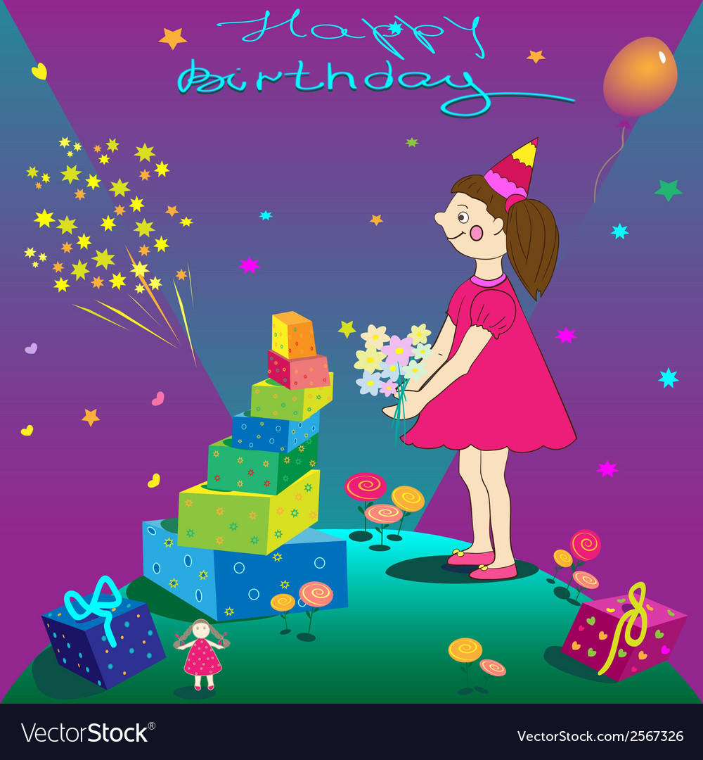 Happy birthday of gift girl and salute vector | Price: 1 Credit (USD $1)