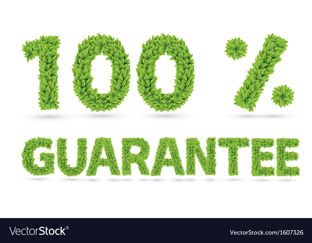 Hundred percent guarantee word of green leaves vector | Price: 1 Credit (USD $1)