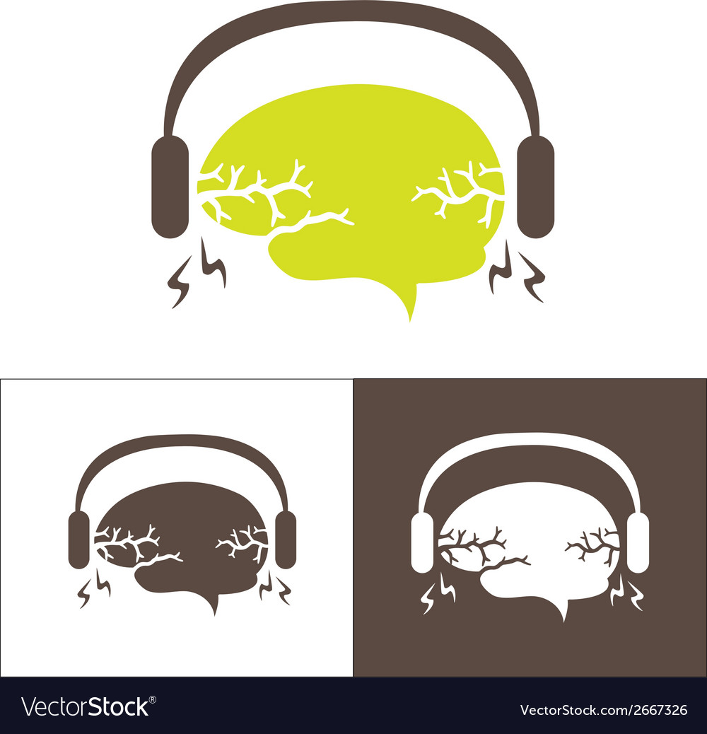 Image of the brain with headphones vector | Price: 1 Credit (USD $1)