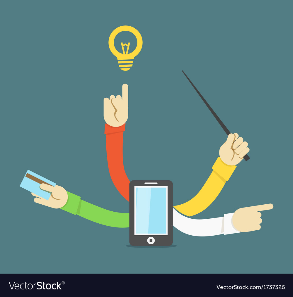 Many hands smart phone concept vector | Price: 1 Credit (USD $1)