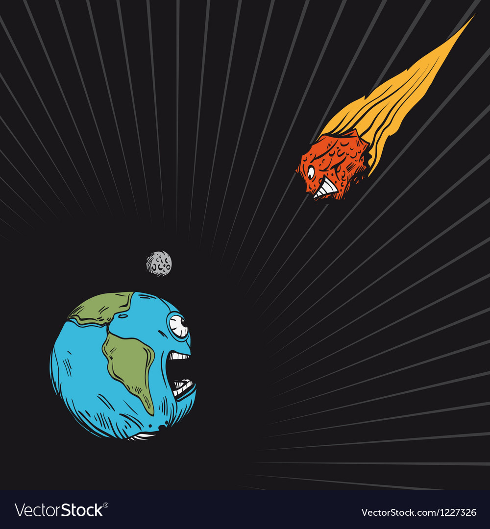 Meteor falls to the earth vector | Price: 1 Credit (USD $1)