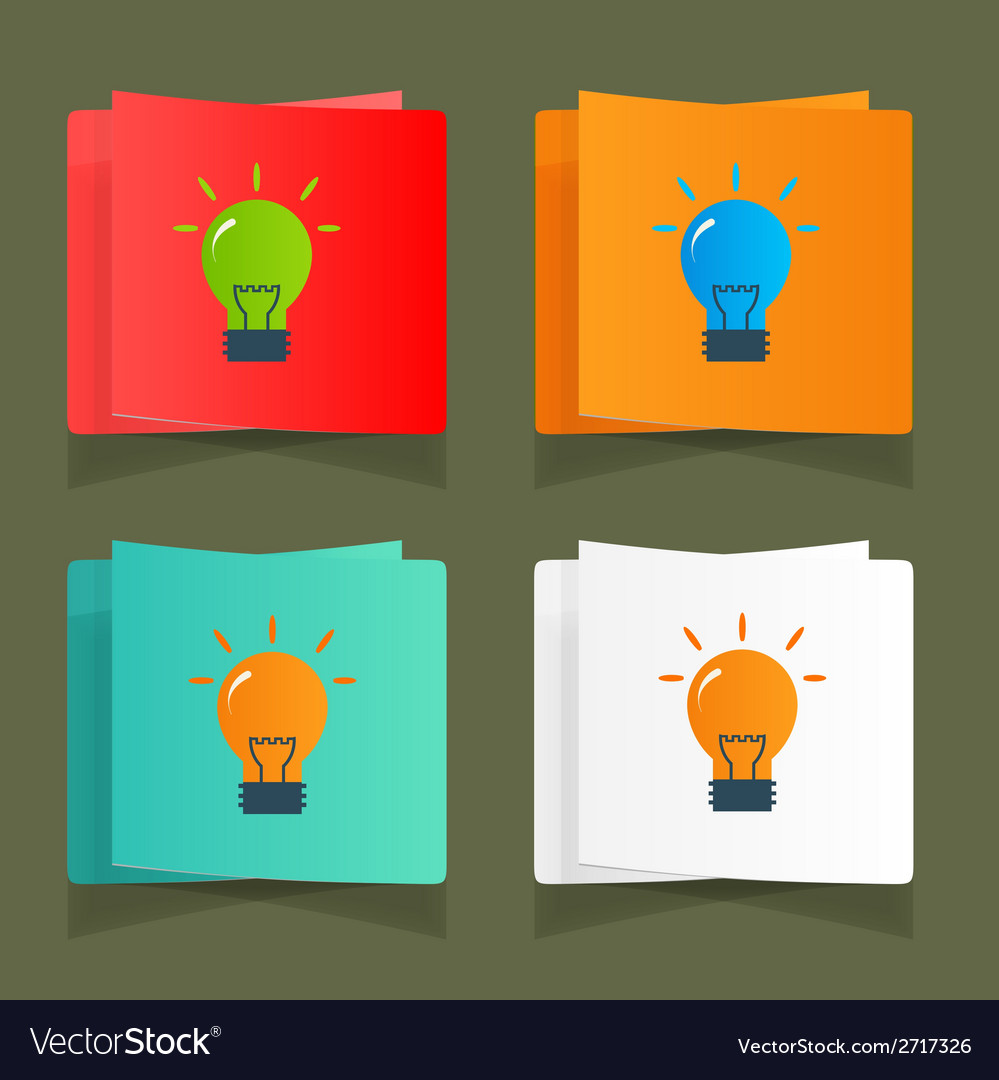 Set of simple icons flat color light bulbs vector | Price: 1 Credit (USD $1)