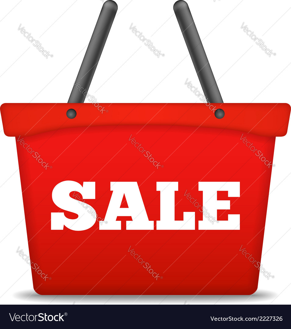 Shopping basket with sale word vector | Price: 1 Credit (USD $1)