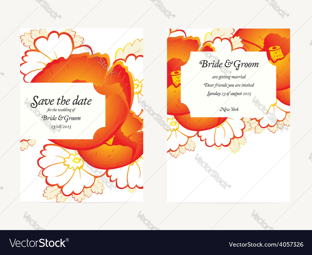 Wedding invitation card with flower vector | Price: 1 Credit (USD $1)