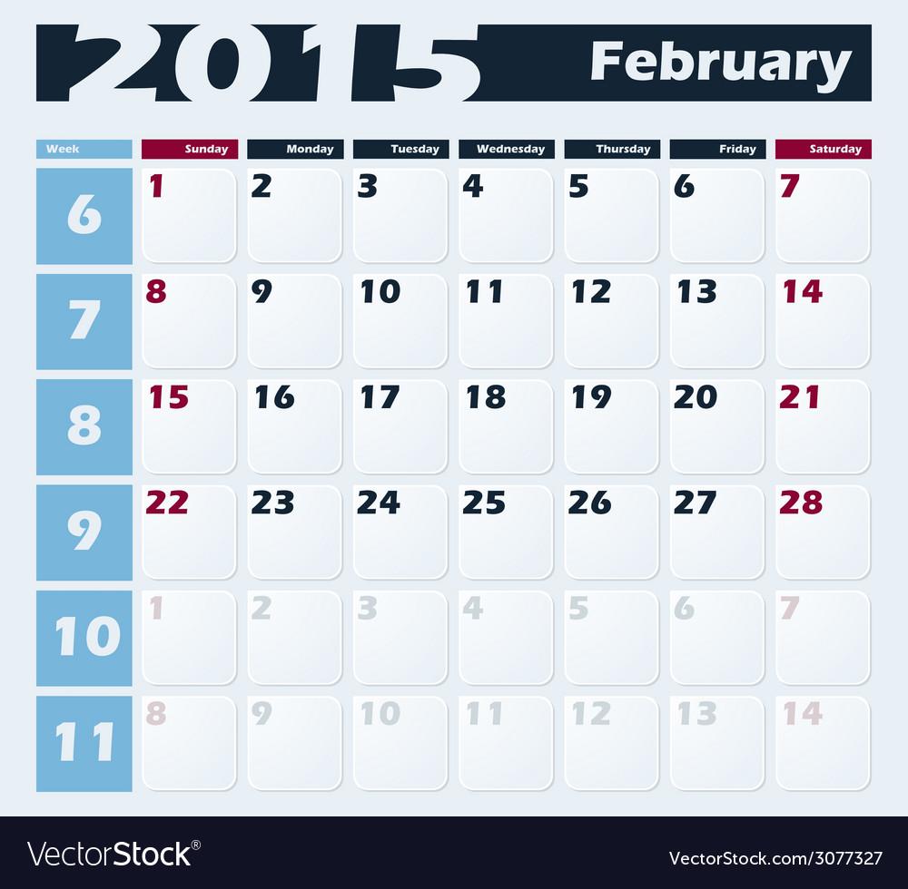 Calendar 2015 february design template vector | Price: 1 Credit (USD $1)
