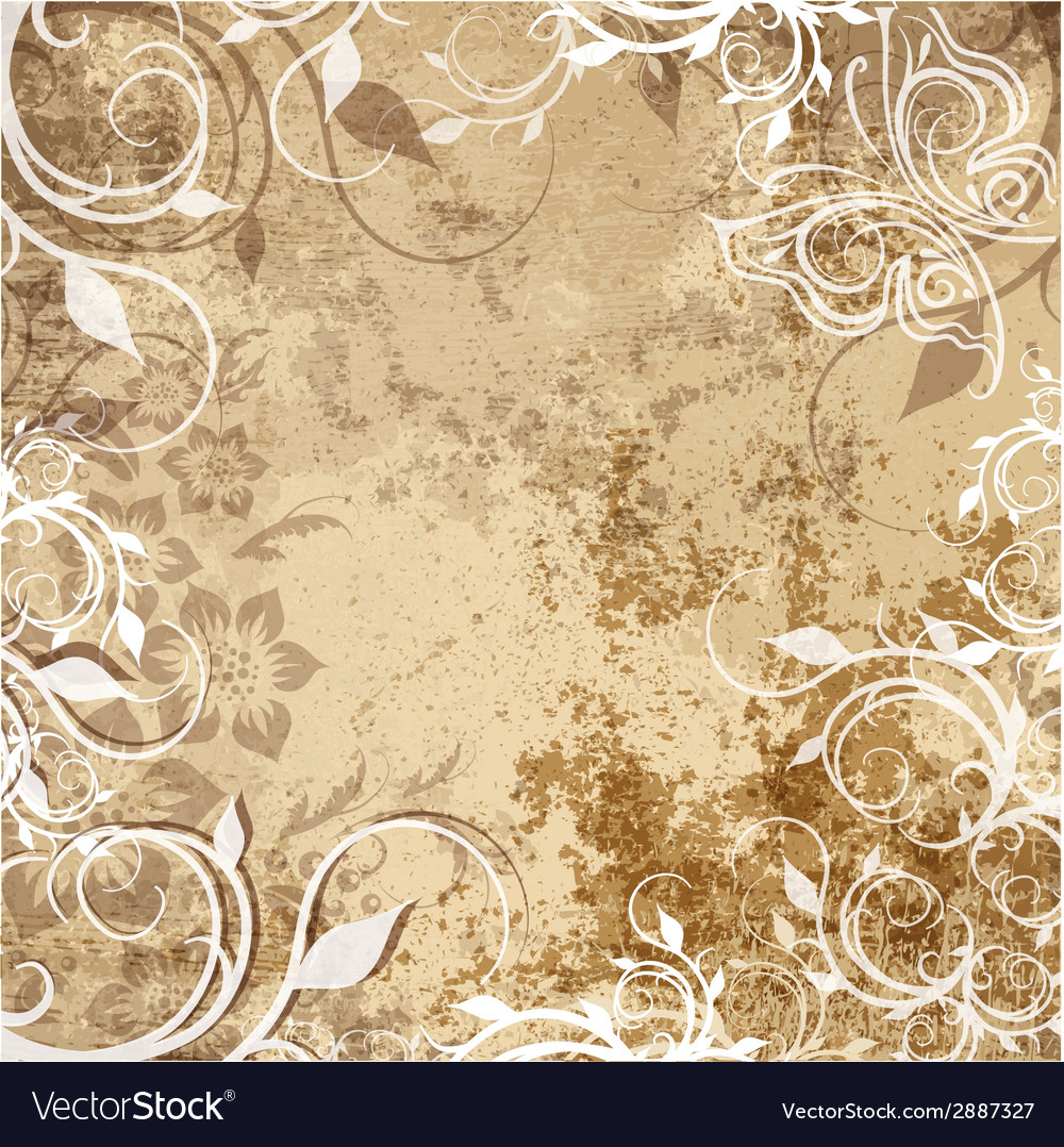 Floral pattern on grunge background vector | Price: 1 Credit (USD $1)