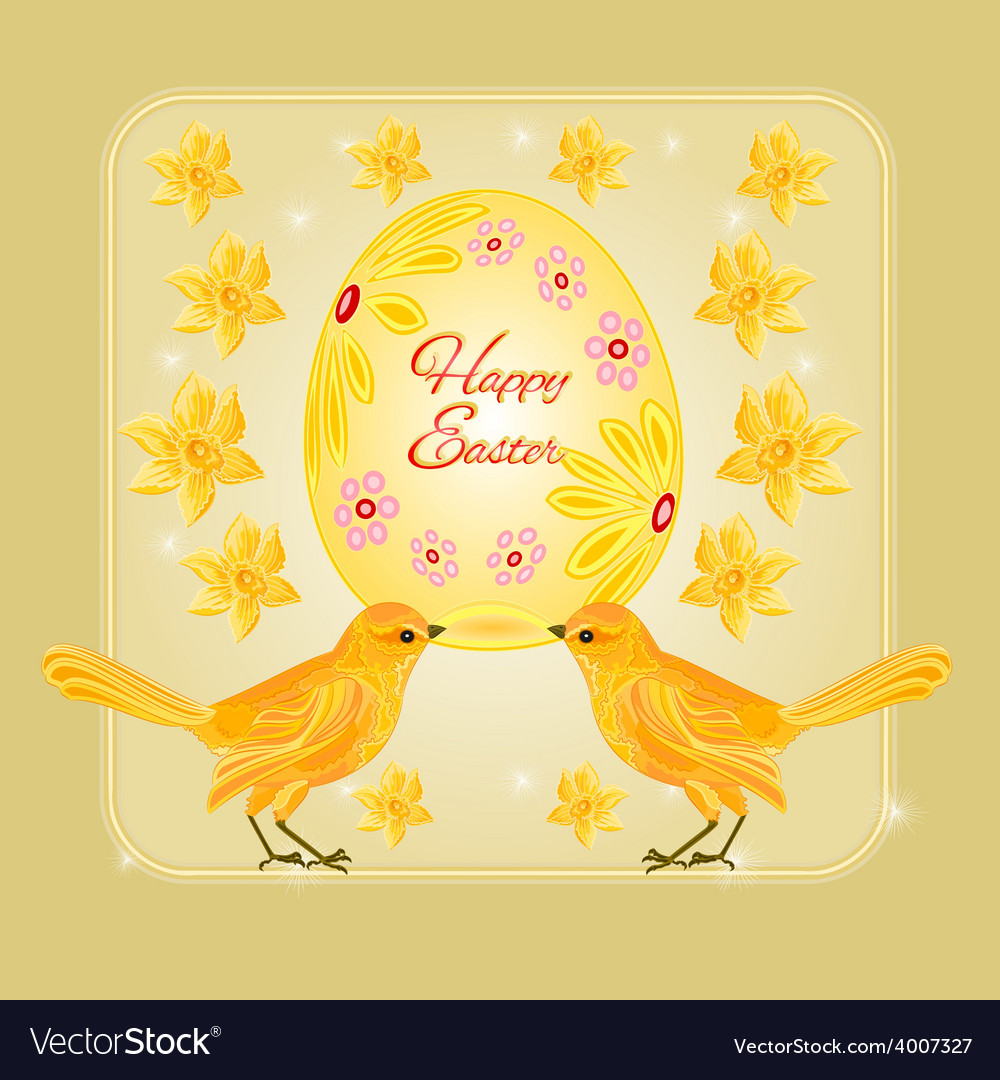 Gold birds and easter eggs place for text vector | Price: 1 Credit (USD $1)