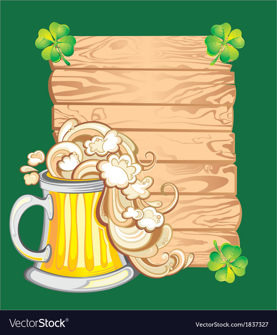 Happy st patricks day card with beer vector | Price: 1 Credit (USD $1)