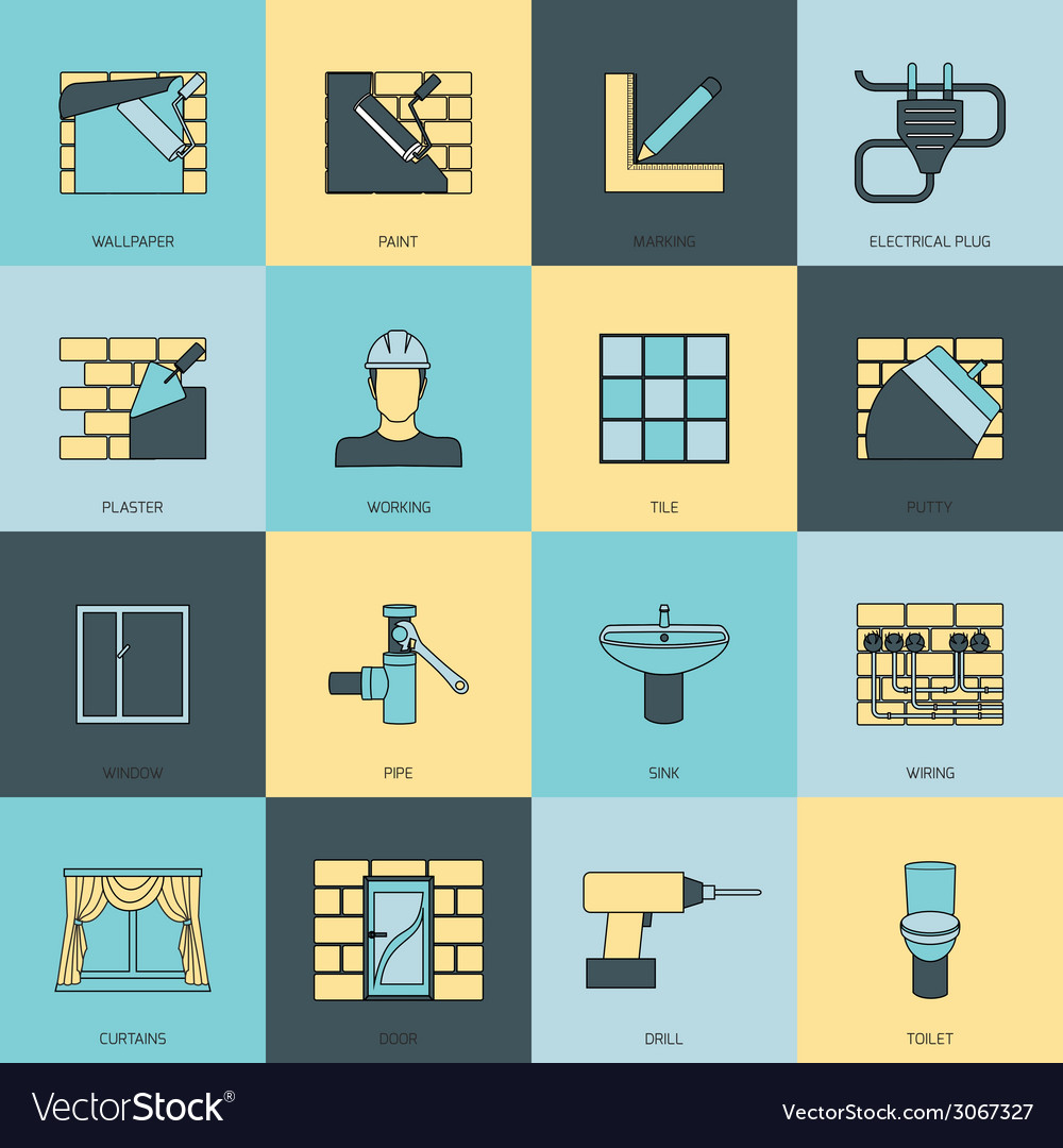 Home repair icons flat line set vector | Price: 1 Credit (USD $1)