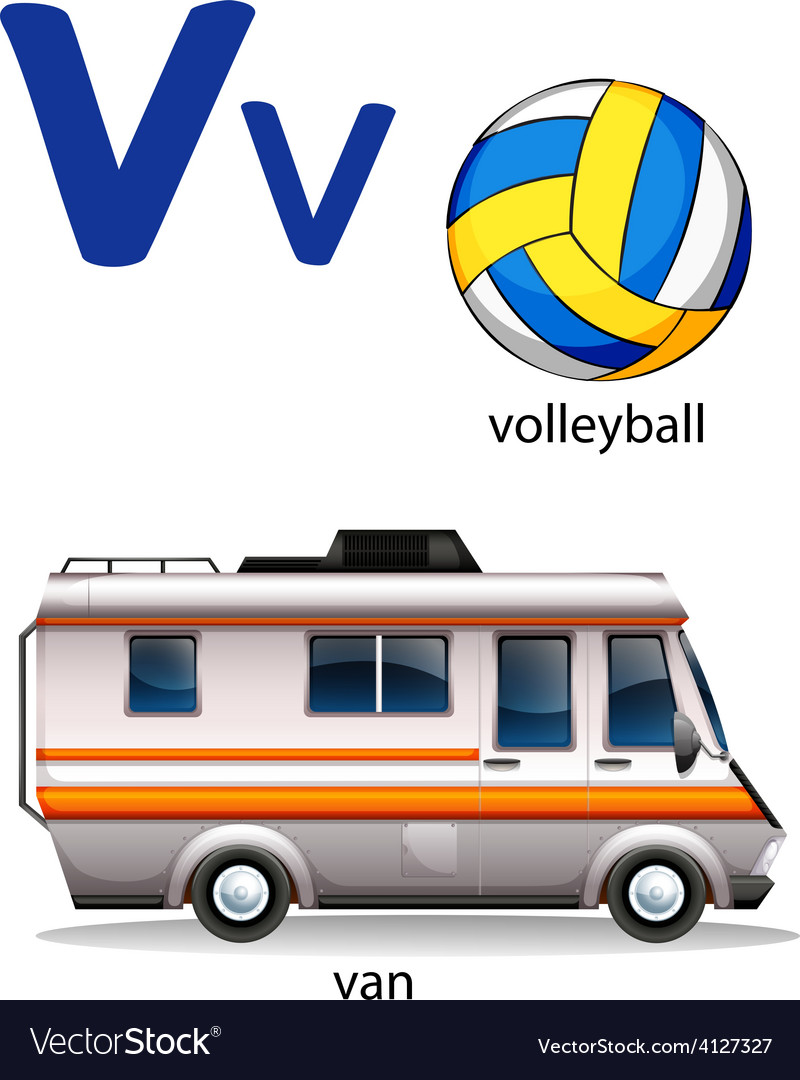 Letter v for volleyball and van vector | Price: 1 Credit (USD $1)