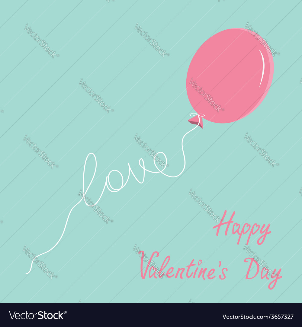 Pink oval balloon with love thread flat design vector | Price: 1 Credit (USD $1)