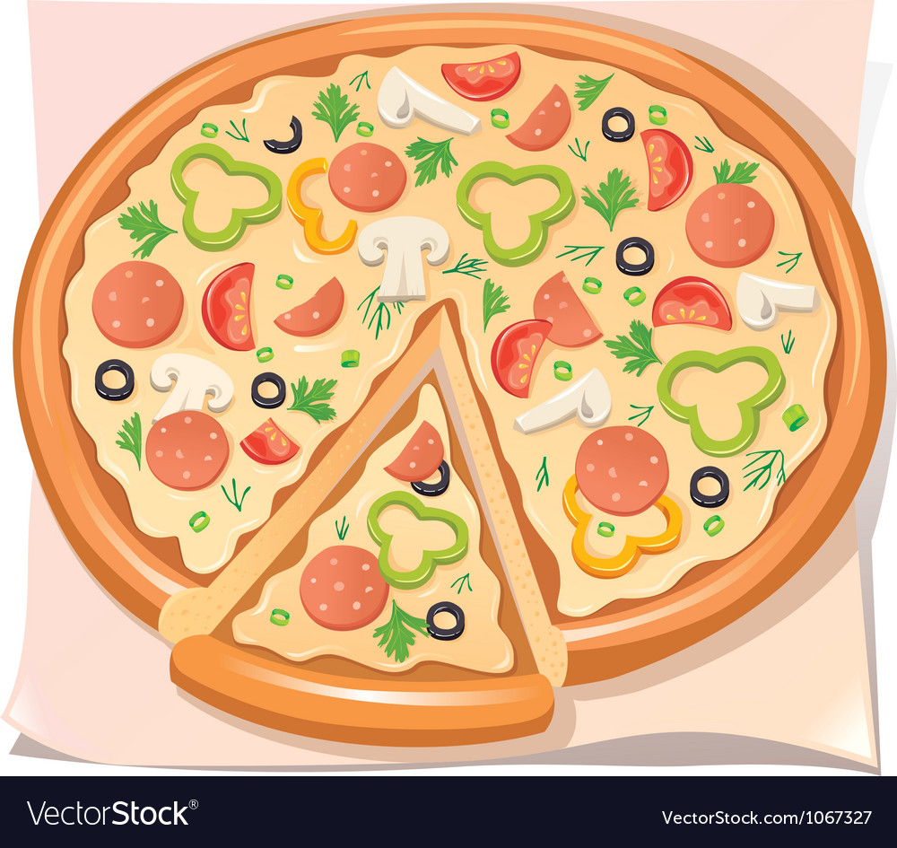 Pizza with salami cheese and vegetables vector | Price: 1 Credit (USD $1)