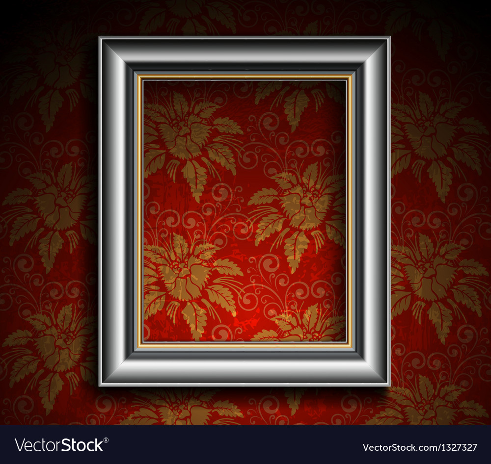 Silver antique frame on grunge wall vector | Price: 1 Credit (USD $1)