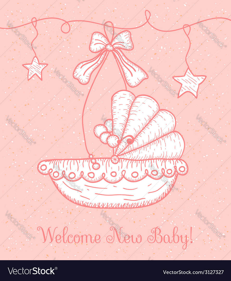 Welcome new baby greeting card with cradle vector | Price: 1 Credit (USD $1)