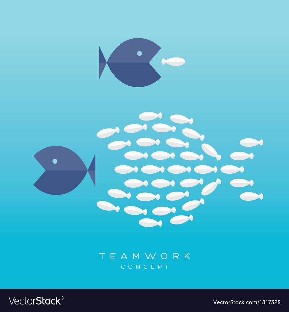 Big fish small fish teamwork concept vector | Price: 1 Credit (USD $1)