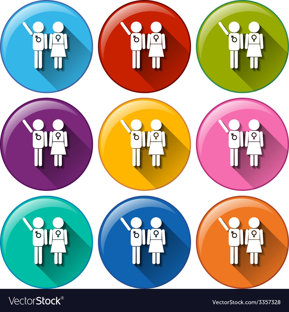 Buttons showing a male and a female vector | Price: 1 Credit (USD $1)