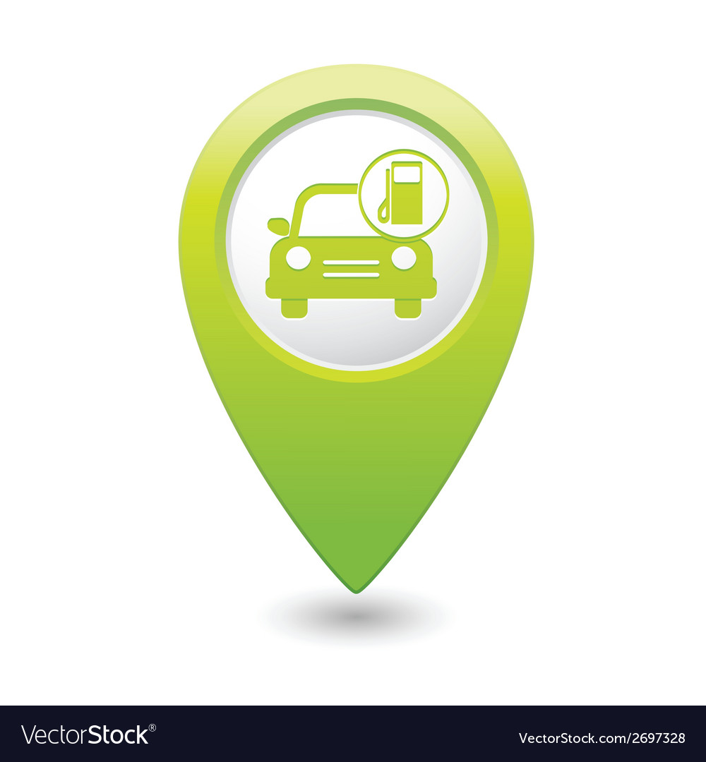 Car with gas station icon map pointer green vector | Price: 1 Credit (USD $1)