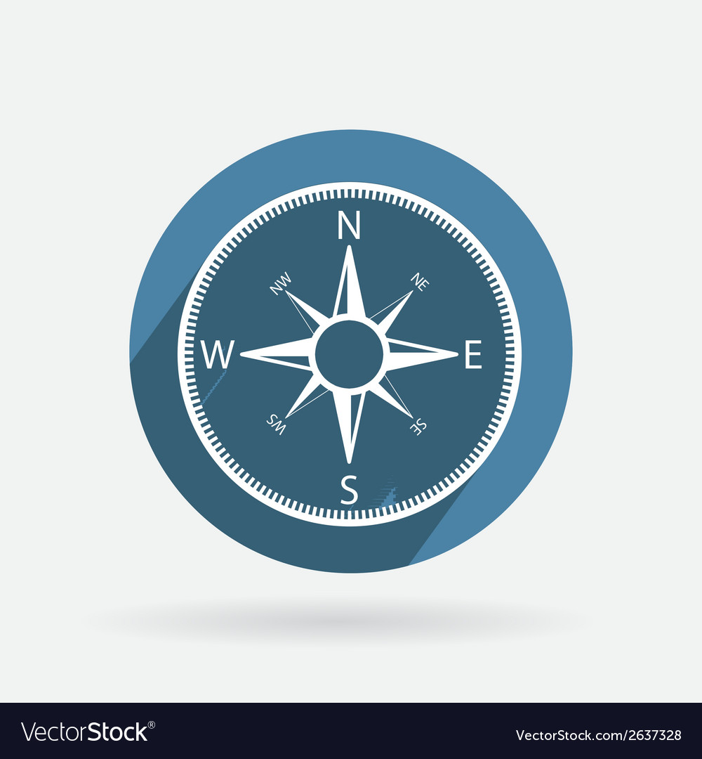 Circle blue icon with shadow compass vector | Price: 1 Credit (USD $1)