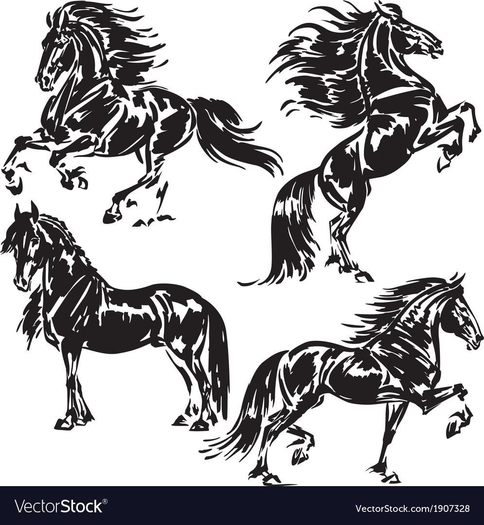 Friesian horses vector | Price: 1 Credit (USD $1)