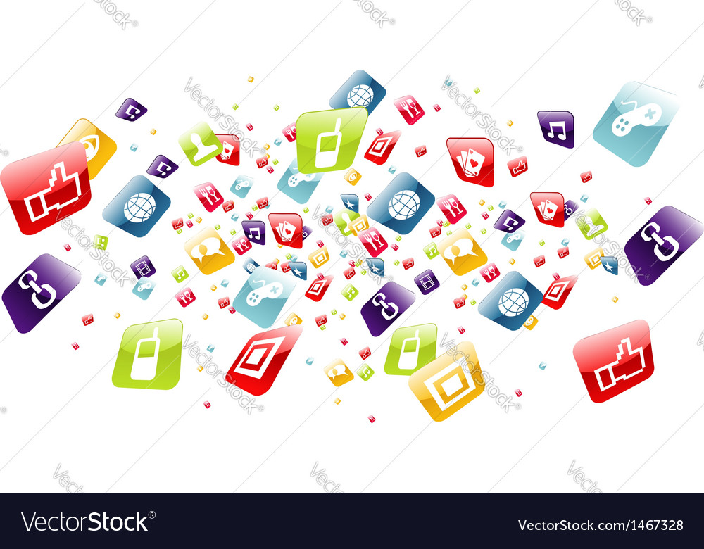 Global mobile phone apps icons splash vector | Price: 1 Credit (USD $1)