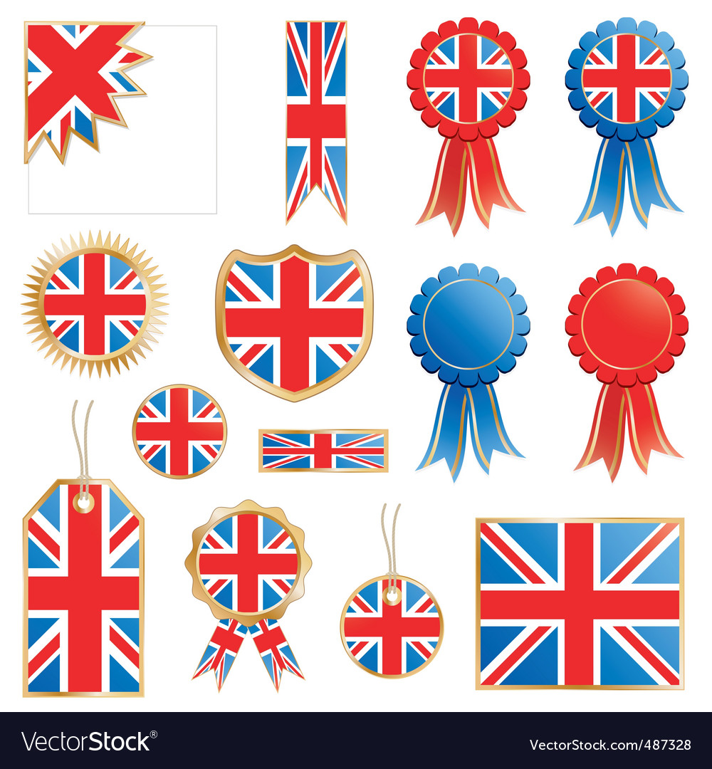 Great britain flags and rosettes vector | Price: 1 Credit (USD $1)