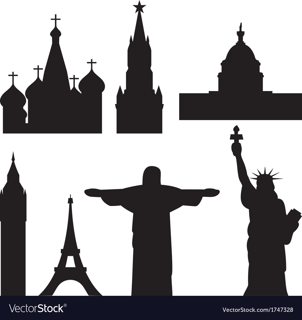 International historical landmark monuments vector | Price: 1 Credit (USD $1)