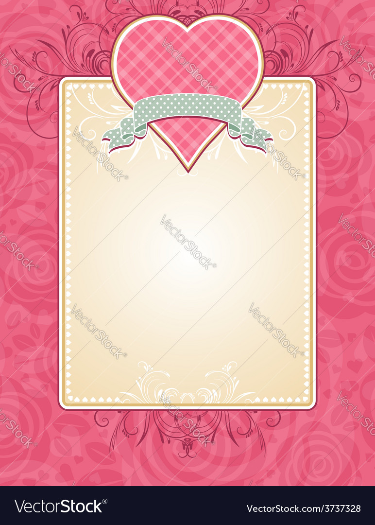 Lovely pink valentine heart with grey ribbon vector | Price: 1 Credit (USD $1)