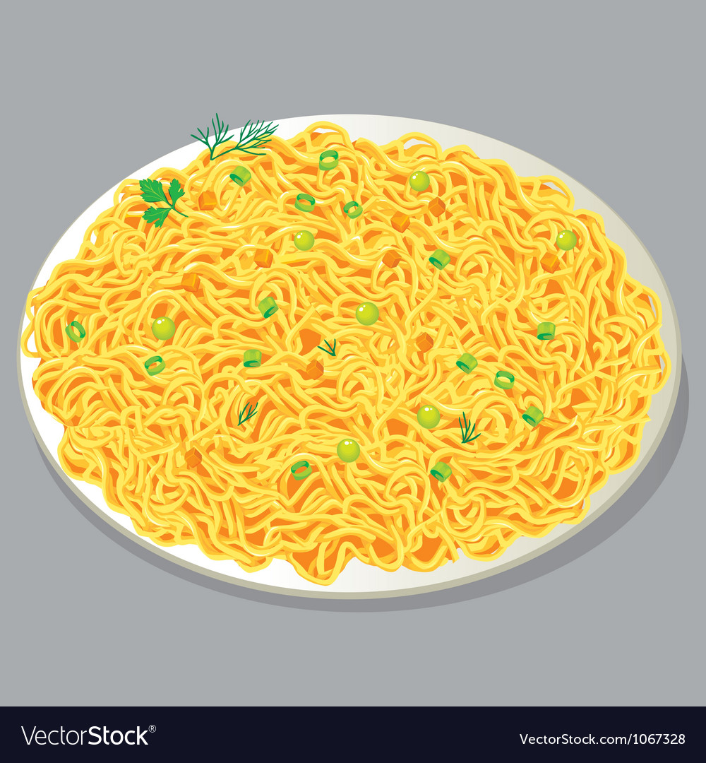 Plate of pasta with vegetables vector | Price: 1 Credit (USD $1)