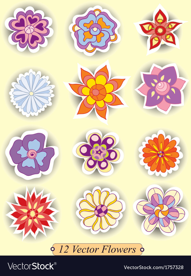 Set of colorful cute isolated flowers vector | Price: 1 Credit (USD $1)
