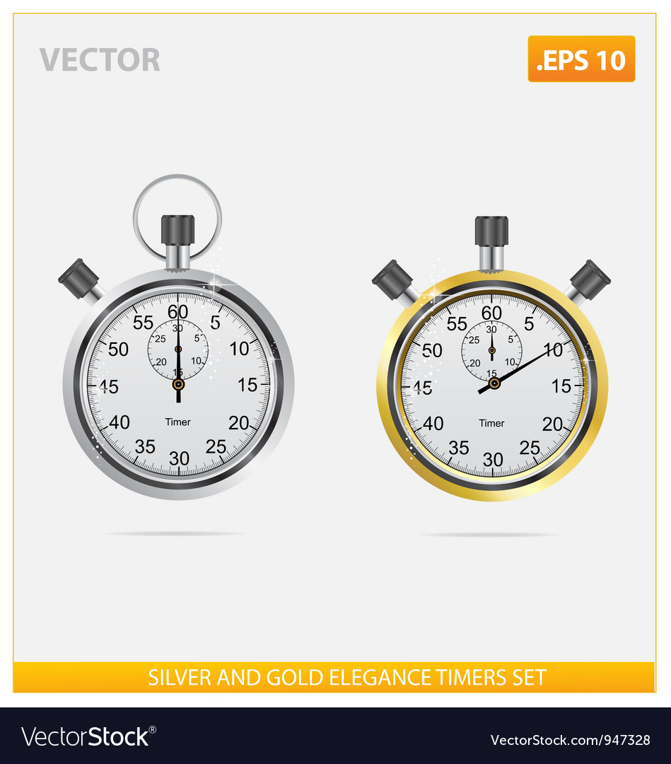 Silver and gold elegance timers vector | Price: 3 Credit (USD $3)
