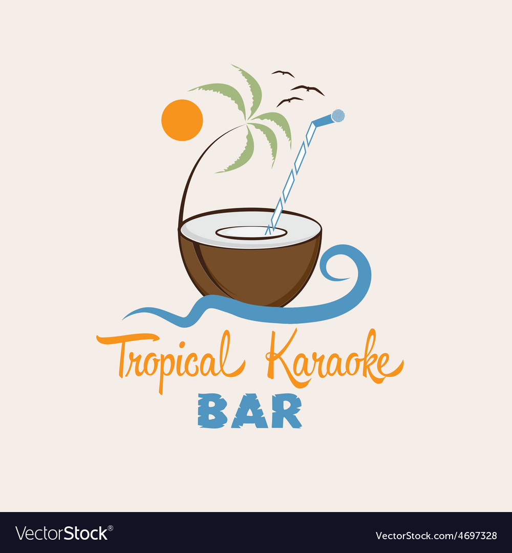 Tropical karaoke bar design template vector | Price: 1 Credit (USD $1)