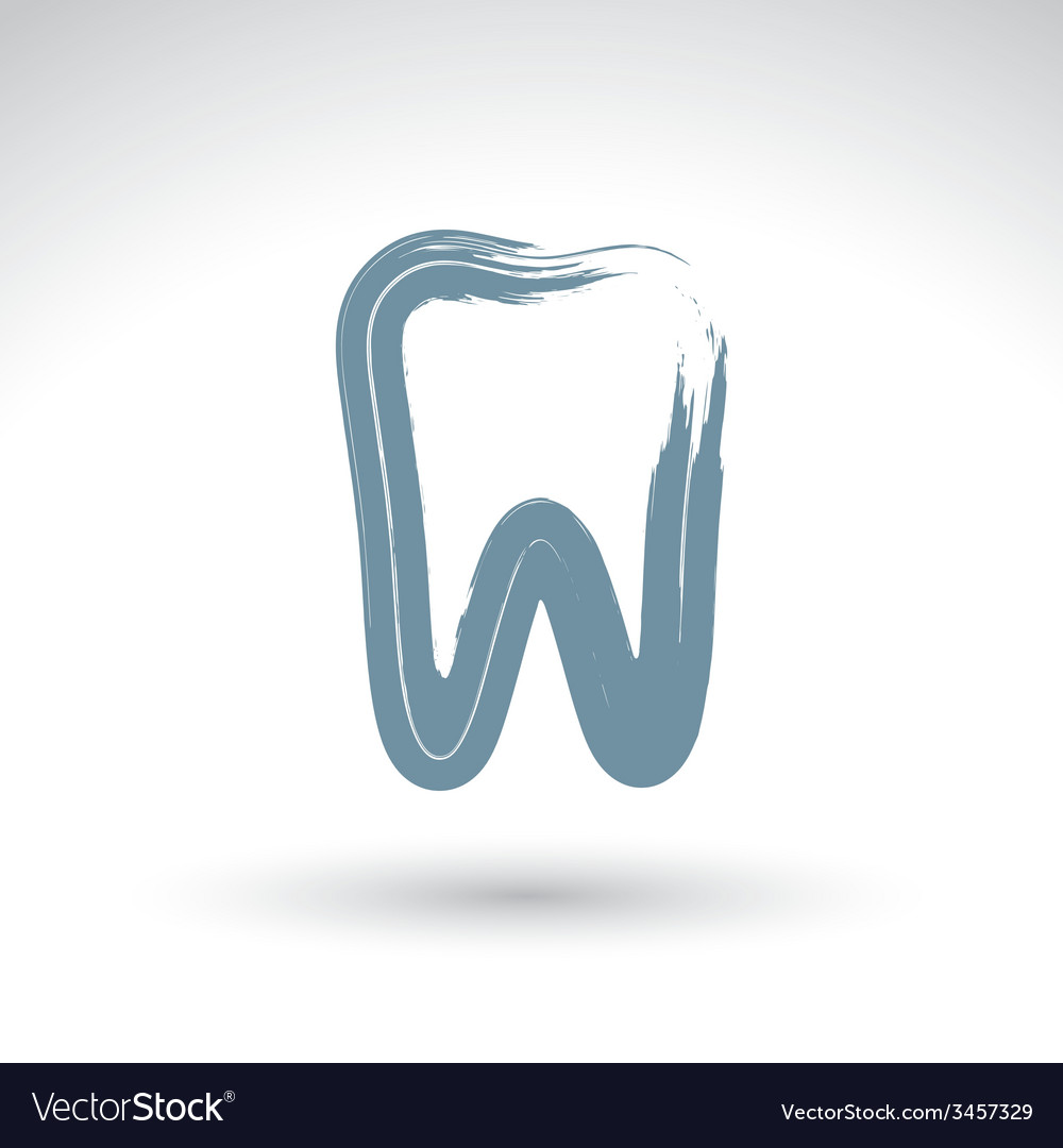 Hand drawn simple tooth icon real ink brush vector | Price: 1 Credit (USD $1)